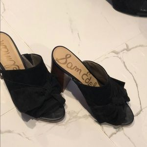 Black Suede Bow Open Tor Shoes